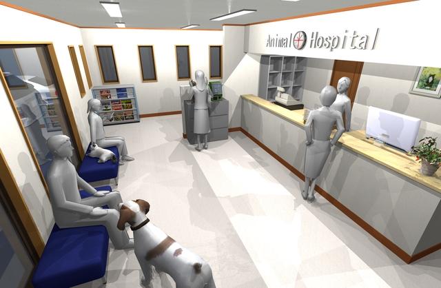 wデジタルサイネージ,動物病院サイネージ